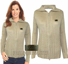 NEW WOMENS LADIES CHUNKY CABLE KNITTED ZIP CARDIGAN JUMPER JACKET TOP SIZE 8-16