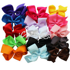 15 pcs Girl Hair Bow Grosgrain Ribbon Boutique Knot Large With Alligator Clip