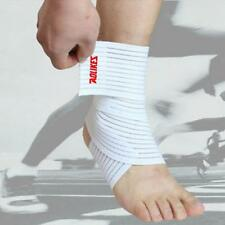 Elastic White Sports Ankle Support Wrap Bandage Foot Pressure Pain Relief