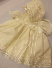 DREAM BABY CREAM DETAILED GUIPURE DRESS  BONNET NB 0-3 3-6 6-12 MONTHS OR REBORN
