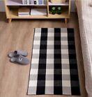 "Buffalo Plaid Rug  2'7 x 4"" Cotton Black and White Carpet Mat"