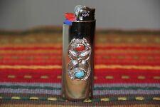 Silvertone Lighter Cover Vintage New w/Stones Flower unisex 4 bic lighter mk ofr