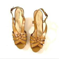 Guess 10M  WGKAYCE Tan Leather Sandals Peep Toe Cork Wedge Heels Ankle Strap