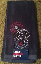 """Celebrate Americana Together """"Be Proud, Be True, Be You"""" Blue Bath Hand Towel"""