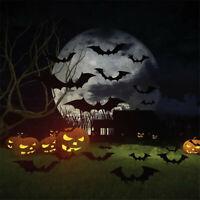 Halloween Decorations Black Orange Party Hanging Paper Fans Bat Props Set