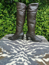Alessandro Boncilioni Brown Leather High Heeled Over the Knee Boots UK 7.5 EU 41