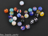 50pcs 6mm Round Lampwork Millefiori Glass Charms Loose Spacer Beads Mix Colors