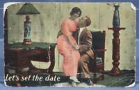 Vintage Let's Set The Date Postcard 1914