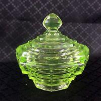 Vintage Art Deco Trinket Box Lidded Powder Pot Green Glass