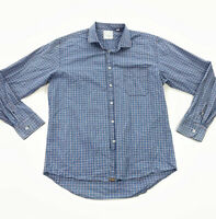 Billy Reid Men's Standard Fit Cotton Button-Down Shirt Blue Brown Plaid • XL