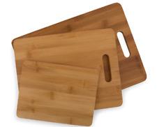 3 Piece Genuine Bamboo Wood Chopping Board Set Kitchen Cutting Home Kitchen NEW
