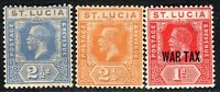 St Lucia 1921 part set Die II multi-crown CA p14 mint SG90/97/98