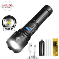 XHP50 LED Flashlight Most Powerful Zoomable USB Rechargeable Strobe Torch 21700