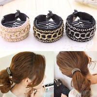2pcs Women Chain Hair Clip Ties Ponytail Holder Buckle Hairbands Barrette Maker