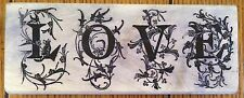 LOVE Magenta Decorative Lettering Wood Mounted Rubber Stamp Valentine's Day