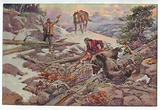 Vintage 1940's-50's Print Grizzly Bear Hunt Winter Scene by Charles Russell