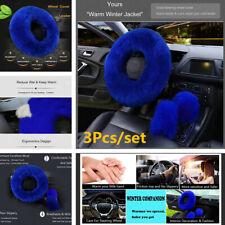 3Pcs/set Gem Blue Warm Plush Wool Steering Wheel Cover Furry Fluffy Car Styling