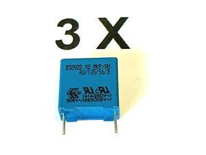 3 x 470nF, 0,47uF, 305V~, 630V- X2,10%,RM15, 0,47µF, Epcos/TDK, Folienk. 3 Stück