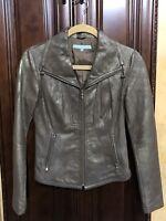 Antonio Melani LEATHER BROWN Bronze Jacket size 0 XS NEW $498
