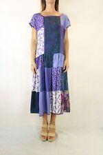 VINTAGE Purple Patchwork 80s Drop waist Midi Dress Size S 8-10