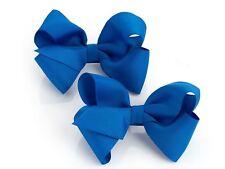 Girls Ladies 2 Piece Royal Blue Hair Bow On Hair Clip Set