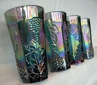 Indiana Glass 4 Iridescent Blue Carnival Harvest Grape 14 ounce Tumblers