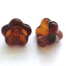 20 DK Smoke Topaz 11x13mm Czech Glass Flower beads