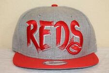 New Era Team Custom Snapback Baseball Cap Cincinnati Reds Gray Adjustable OSFM