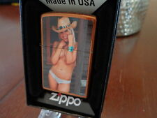 BLONDE COWGIRL TOPLESS PINUP GIRL ZIPPO LIGHTER MINT IN BOX