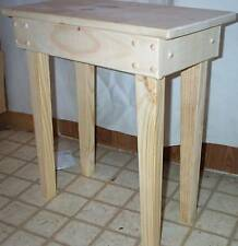 "22"" pine wood lamp / end side utillity table unfinished wood hand msde in USA"