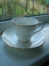 Duchess Ascot Tea Cup & Saucer White Gold Fine Bone China 2nd Quality