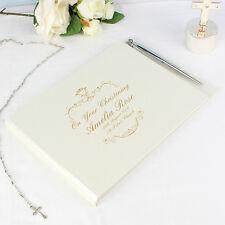 Mensaje personalizado de oro libro de visitas y pluma Set para Bodas Idea de Regalo Bautizo