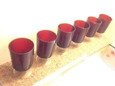 60s retro sherry glasses set of 6 red glass