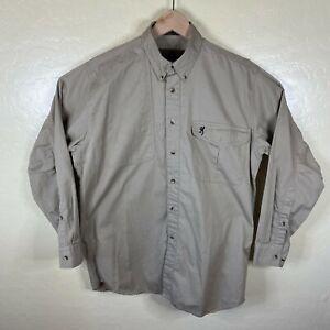 Browning Button Down Shooting Shirt Mens Medium Tan Khaki Padded Super Naturals