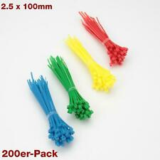 200x Pack Cable Tie Mix Colour 3 15/16in 2.5 Organizer Red Blue Yellow Green