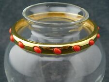 J. Crew Goldtone (Gold Plated?) Bangle Bracelet with Faux Red Coral Cabochons