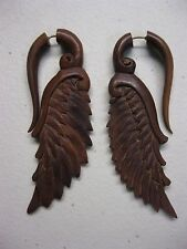 BROWN SAWO WOOD SERAPHIM WING FAKE GAUGE EARRINGS