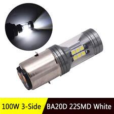 100W BA20D Pure White Hi/Lo Beam Headlight Lamp For Motorcycle Bike Moped ATV