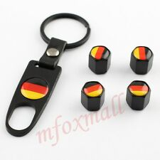 4X Vehicle Accessories Wheels Key Ring Tire Valve Dust Air Cap Germany Flag Logo