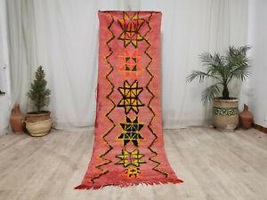 Handmade Moroccan Vintage Runner Rug 2'7x8'3 Floral Tribal Berber Wool Pink Rug