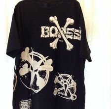 Vintage Bones Crossbones Wheels Powell Peralta Multi Print Tee Shirt Size Large