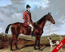 ENGLISHMAN FOX HUNT HORSE & DOG EQUESTRIAN HUNTING ART PAINTING CANVAS PRINT