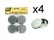 NEW 16pc Tin Storage Container Round Metal Tin Box Silver Storage Containers