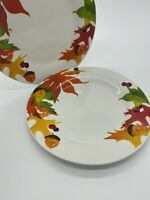 2 Royal Norfolk Fall Leaf Acorn Thanksgiving Dinner Plates Harvest Autumn
