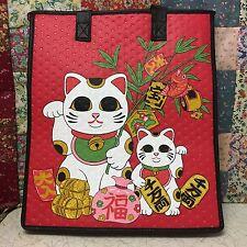 13X12X10 Large Hawaiian Insulated/Grocery/Tote Bag .   Red Maneki Neko.