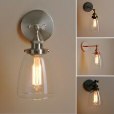 Pathson Industrial Wall Lamp Vintage Cloche Glass Wall Light Metal Brass Fixture