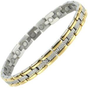 Femmes Titane Magnétique Bracelet Avec Or & Finition Chrome Stylé Aimants Guérir