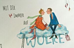 Passepartout Bild Hochwertiger Druck Cartoon mit flottem Spruch hier Auf Wolke 7