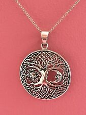 925 Sterling Silver Sun Moon Smiley Tree of Life Charm Celtic Tree Necklace