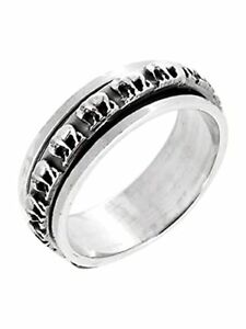 925 Silver Elephant Ring 7.5mm Spinning Ring Stress Relief Ring For Women Men